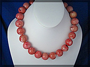 Pink Turquoise Bead Necklace 17 Inch