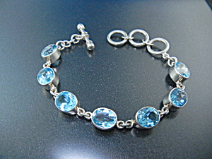 Charles Albert Blue Topaz Sterling Silver Toggle Bracel