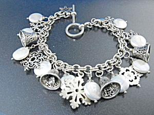 Sterling Silver Bells Snowflake Pearls Charm Bracelet  (Image1)