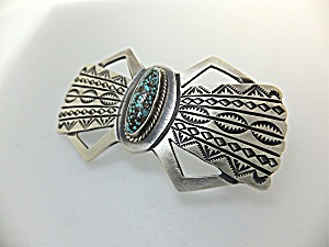 Barrette Sterling Silver Turquoise Signed American Indi (Image1)