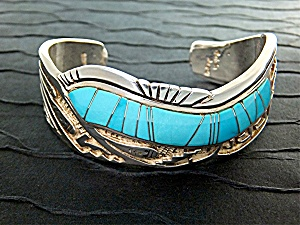Calvin Begay Sleeping Beauty Turquoise Sterling Silver  (Image1)