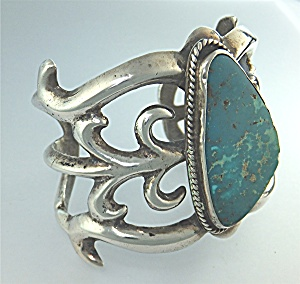 Native American Sterling Silver Sand Cast Turquoise 60