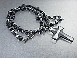 Crystal Faceted Glass Beads Cross Necklace (Image1)