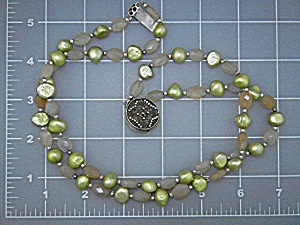 Freshwater Pearls Green Pink Quartz Sterling Silver  (Image1)