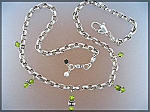 Sterling Silver Peridot Pearl Crystal Heart Necklace (Image1)