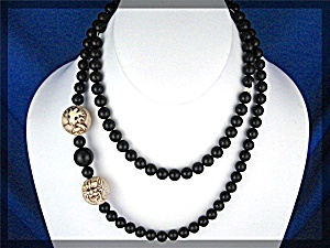 Ivory And Black Onyx Bead Necklace