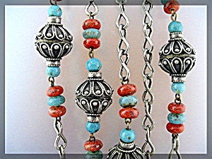 Silver Turquoise Carnelian Color Glass bead Necklace (Image1)