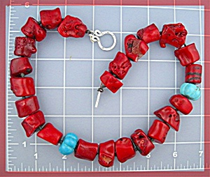 Coral Turquoise Sterling Silver Toggle Clasp Necklace