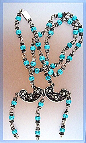 Sterling Silver Turquoise RD Cuernevaca Eagle 108 Neckl (Image1)