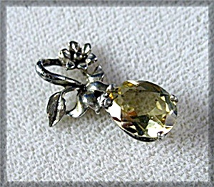 Sterling Silver Pear Shape Citrine Flower Pendant (Image1)
