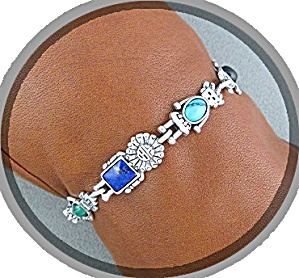 Sterling Silver Kachina Dolls Toggle Bracelet