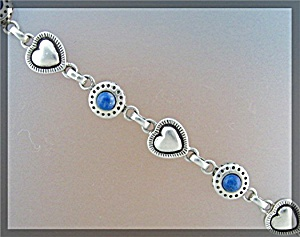Sterling Silver Lapis Circles and Hearts Bracelet (Image1)