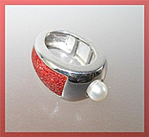 Sponge Coral Genuine Pearl Mother Pearl Sterling Silver (Image1)