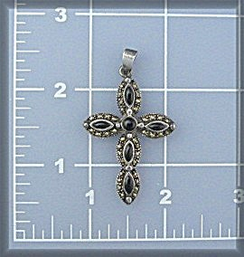 Sterling Silver Black Onyx Marquisite  Cross Pendant (Image1)