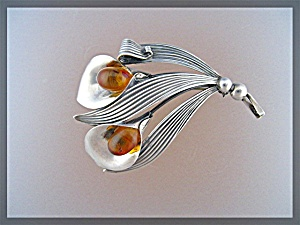 Sterling Silver Amber  N.E. FROM Norway Brooch Pin (Image1)