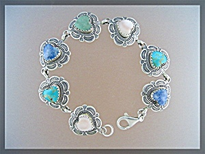 Sterling Silver Turquoise Denhim Lapis Heart  Bracelet (Image1)