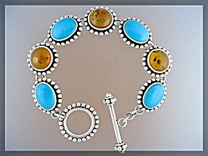 Sterling Silver Turquoise Amber Toggle Clasp  Bracelet (Image1)