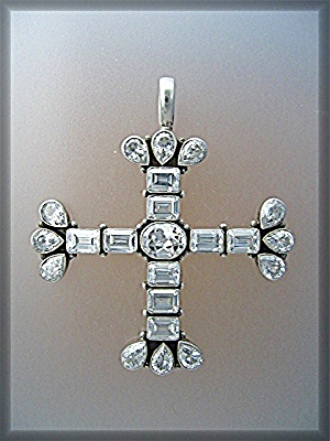 Pendant Natural White Zircon Sterling Silver Cross