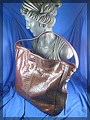 Donald Pliner Large Tobacco Brown Leather Bag