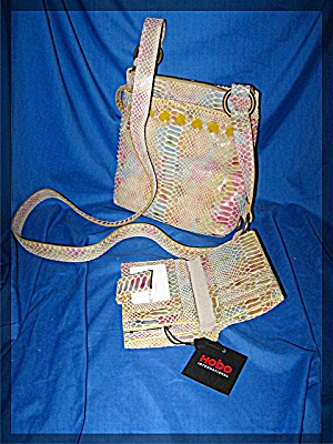 Hobo International Leather Pink Blue Mustard Bag & Wall
