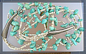 Santo Domingo Turquoise Heishi Sterling Silver Necklace