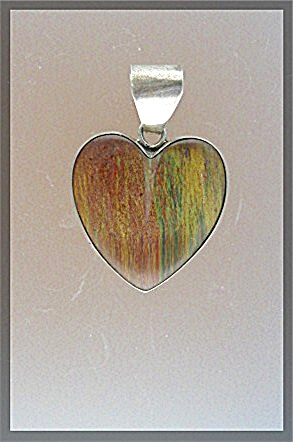Virginia Burnham Sterling Silver Tigerseye Heart Pendan