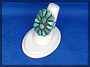 ELSIE YAZZIE Sterling Silver Turquoise Am Indian Ring (Image1)