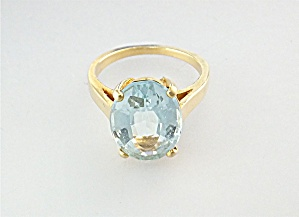 Ring 14K Gold 3ct Oval Aquamarine  (Image1)