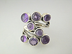 Ring Amethysts Faceted And Cabochon In Sterling Silver
