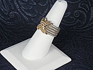 Ring Gold Cross and Sterling Silver Twists (Image1)