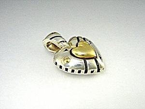 JOHN ATENCIO 18K Gold Sterling Silver Heart Pendant (Image1)