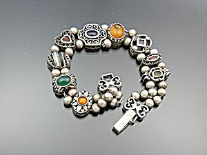 Bracelet Sterling Silver 9 Slides Vintage Signed M (Image1)