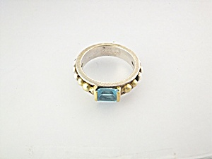 Ring 18K Gold  LAGOS CAVIAR Sterling Silver Blue Topaz (Image1)