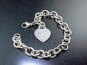 Tiffany Sterling Silver Link Bracelet Heart Charm (Image1)