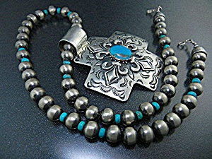 Native American Sterling Silver Turquoise Cross Necklac