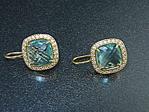 Gold Vermeil Sterling Silver Blue White Topaz Earrings