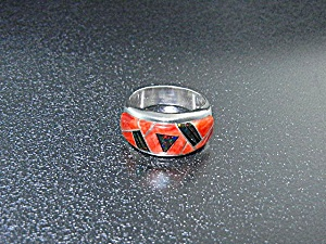 Native American Sterling Silver Coral Fire Opal Ring