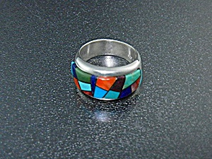 Native American Sterling Silver Inlay Ring Calvin Begay