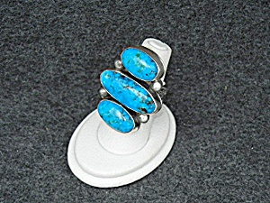 David Troutman Sterling Silver Kingman Turquoise Ring (Image1)