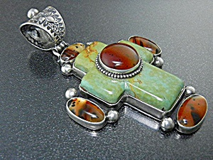 David Troutman Sterling Silver Amber Turquoise Cross