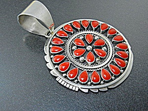 Native American Coral Sterling Silver Pendant Livingsto
