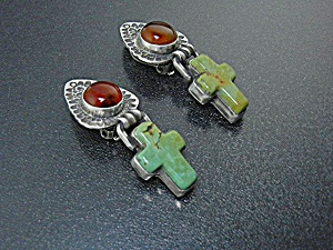 David Troutman Sterling Silver Amber Turquoise Clip