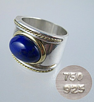 Ring 18k Gold Sterling Silver Cabochon Lapis