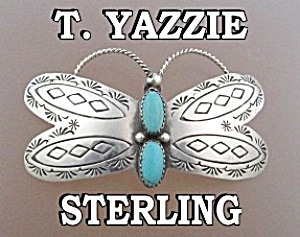 T Yazzie Sterling Silver Turquoise Hair Barrette