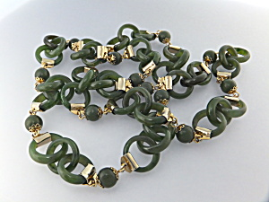 Necklace Gold Clad And Hetian Stone Links (Jade)