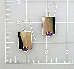 Earrings Sterling Silver Lip Shell Amethyst By Marta Ho (Image1)