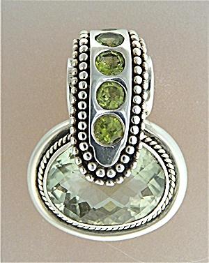 Pendant Sterling Silver Green Amethyst Peridot SJ (Image1)