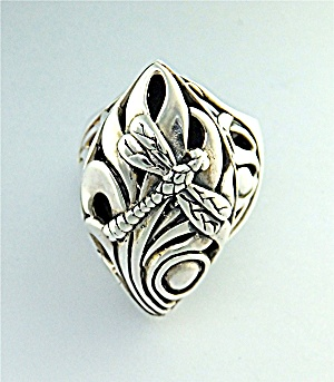 Ring Sterling Silver Designer Kl Dragonfly