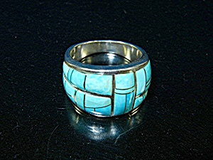 Sleeping Beauty Turquoise Inlay Sterling Silver G. L St