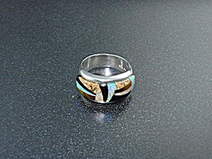 Native American Calvin Begay Sterling Silver Inlay Ring